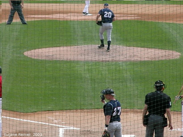 IMG 2003-Jun05 at CanWestGlobalPark:  Goldeyes-2003 pitch frame#F