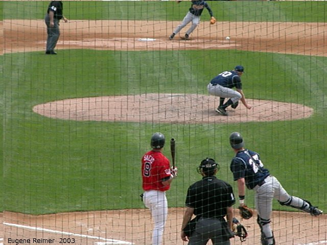 IMG 2003-Jun05 at CanWestGlobalPark:  Goldeyes-2003 steal frame#7
