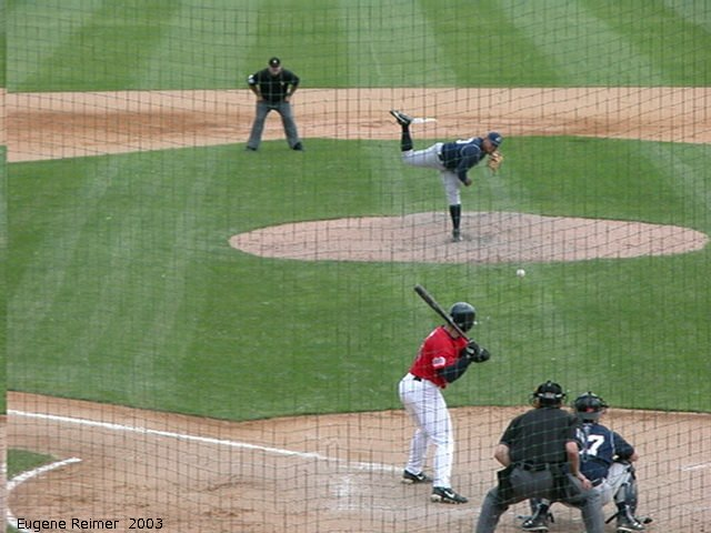 IMG 2003-Jun05 at CanWestGlobalPark:  Goldeyes-2003 double-play frame#3