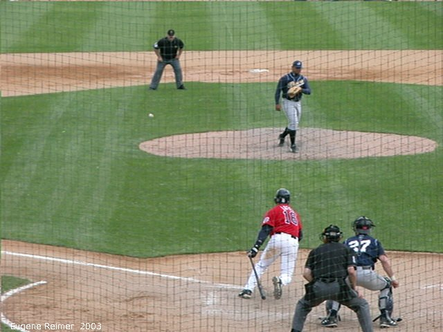 IMG 2003-Jun05 at CanWestGlobalPark:  Goldeyes-2003 double-play frame#5