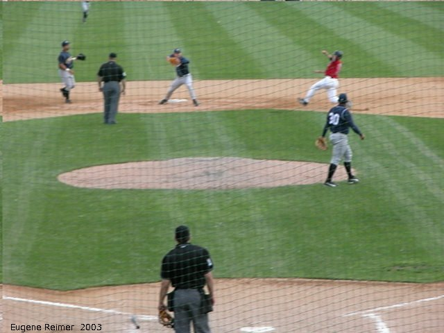 IMG 2003-Jun05 at CanWestGlobalPark:  Goldeyes-2003 double-play frame#E