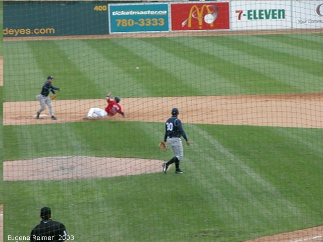 IMG 2003-Jun05 at CanWestGlobalPark:  Goldeyes-2003 double-play frame#F