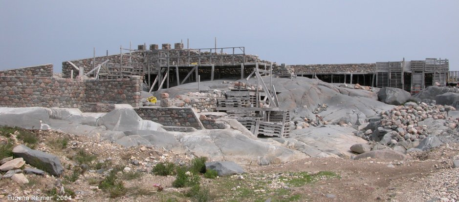 IMG 2004-Jul17 at town of Churchill:  large-stone-castle Brian Ladoon hotel under construction