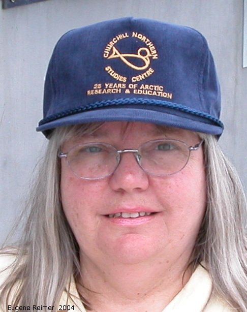 IMG 2004-Jul20 at near CNSC (afternoon):  birdfish-logo on Doriss new hat