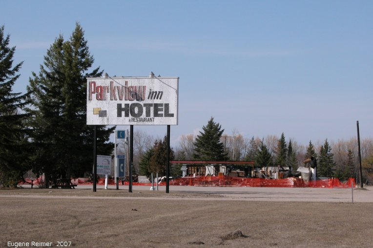 IMG 2007-Apr20 at Hadashville:  Parkview sign+ruins