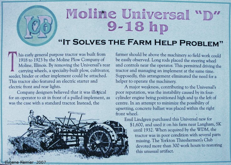 IMG 2007-May26 at WDM-Museum-Yorkton:  WDM-Museum 1918 Moline-Universal-9-18hp internal-combustion tractor info