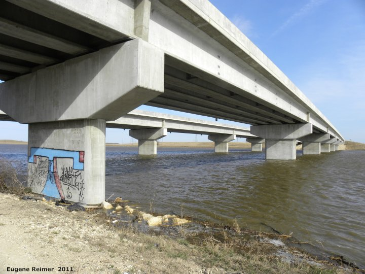 IMG 2011-Apr29 at St-Mary's Rd and SE-Winnipeg or East side of Red River:  bridge Lagimodiere Hwy over Red River Floodway from below